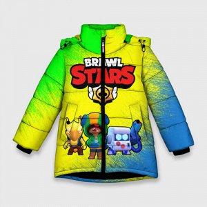 Зимняя куртка для девочек 3D «Brawl Stars Leon 8-bit Crow»