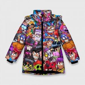 Зимняя куртка для девочек 3D «BRAWL STARS ВСЕ ПЕРСОНАЖИ»
