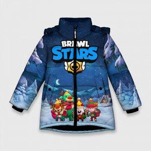 Зимняя куртка для девочек 3D «Новогодний Brawl Stars»
