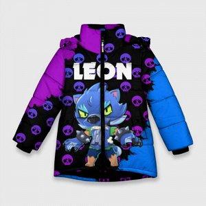 Зимняя куртка для девочек 3D «Brawl Stars Leon Оборотень»