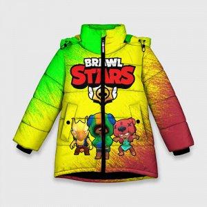 Зимняя куртка для девочек 3D «Brawl Stars Leon Nita Crow»