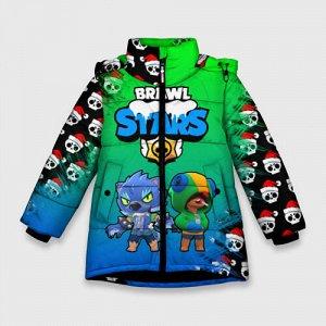 Зимняя куртка для девочек 3D «Новогодний Brawl Stars Two Leon»