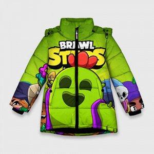 Зимняя куртка для девочек 3D «BRAWL STARS SPIKE»