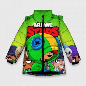 Зимняя куртка для девочек 3D «BRAWL STARS LEON»