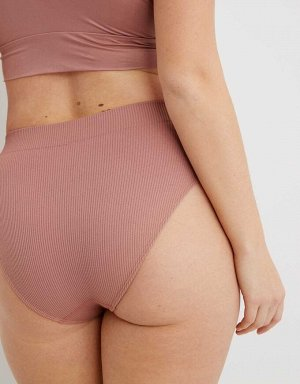 Aerie Ribbed Seamless High Cut Bikini Underwear