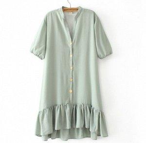 Шифоновое платье,серо-синий