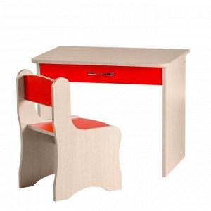 """Набор мебели """"Дошкольник"""" 700х570х500  Дуб молочный/Красный Чили"""