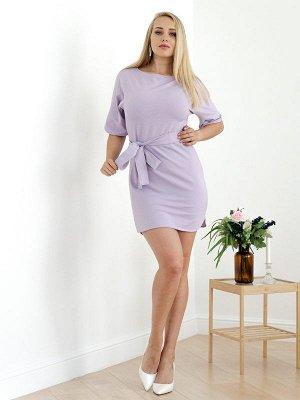 Платье с поясом П 226 (Сиреневый)