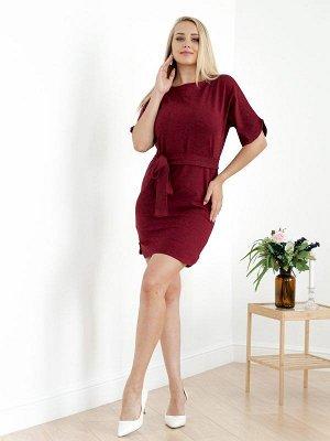Платье с поясом П 226 (Бордо)