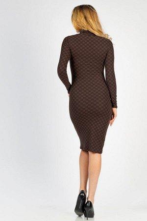 Платье-водолазка длины миди П 028 (Шашки)