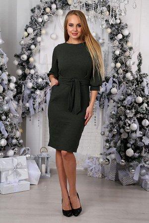 Платье-миди с объемными рукавами П 026 (Серо-зеленый меланж)