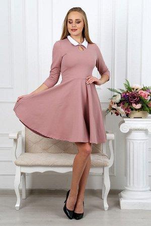 Платье с воротником П 027 (Сухая роза)