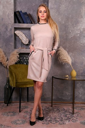 Платье с поясом и кружевной отделкой П 244 (Бежевое)