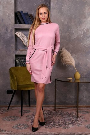 Платье с поясом и кружевной отделкой П 244 (Розовое)
