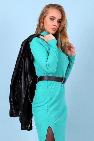 Платье-водолазка длины миди c разрезами П 239 (Ментол)