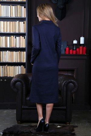 Платье-водолазка длины миди c разрезами П 239 (Темно-серый)