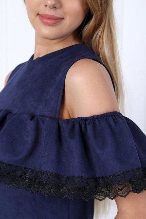 Платье с рюшей и кружевом П 232 (Индиго)