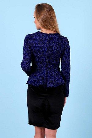 Платье с баской П 236 (Синий)