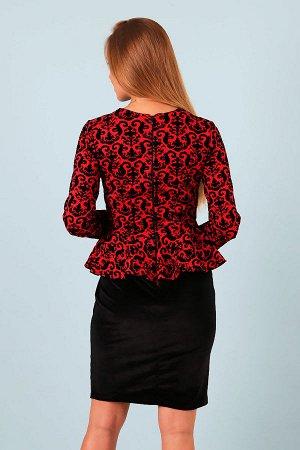 Платье с баской П 236 (Красное)