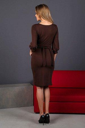 Платье-миди с объемными рукавами П 206 (Шоколад)