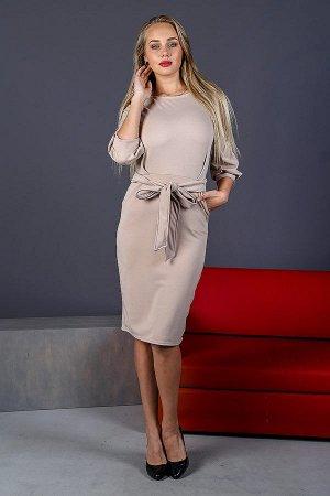 Платье-миди с объемными рукавами П 206 (Бежевый)