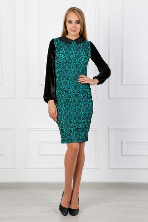 Платье футляр с воротничком П 235 (Зеленое)