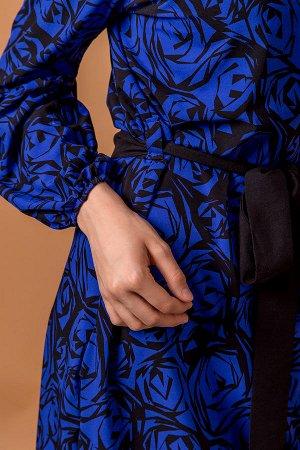 Легкое платье из ткани ричи П 1001 (Синее)