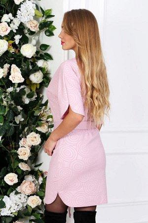 Платье с поясом П 226 (Розовое)
