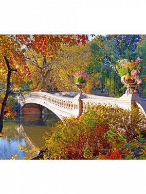 Осенний парк с мостиком