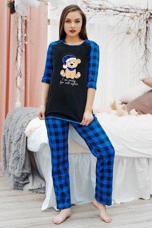 Пижама с брюками ПЖ 020 (Мишка/синяя клетка)