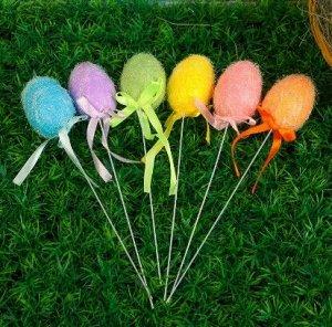 "Сувенир на палочке ""Яйцо с блестками, цветное"", набор 6 шт."