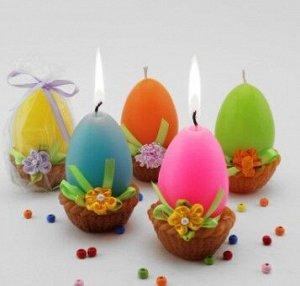 """Декоративная свеча """"Яйцо в корзинке"""""""