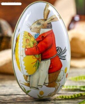 "Шкатулка металл яйцо ""Пасхальный кролик"""