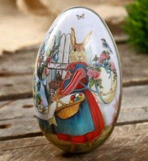 "Шкатулка металл яйцо ""Зайка с корзинкой крашенных яиц"""