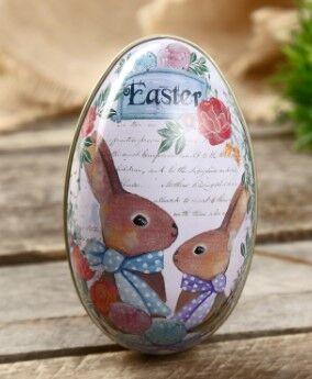"""Шкатулка металл яйцо """"Пасхальные кролики"""""""