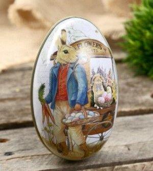 "Шкатулка металл яйцо ""Заяц с корзиной крашенных яиц"""