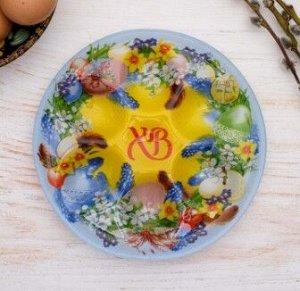 Стеклянная подставка на 6 яиц «Пасхальный венок»