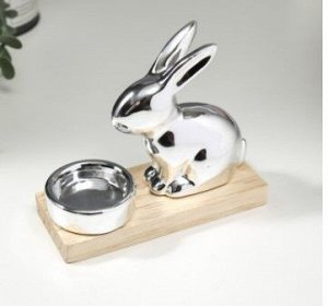 "Сувенир керамика, дерево подсвечник ""Кролик"" 11,6*5,5*13,8 см"