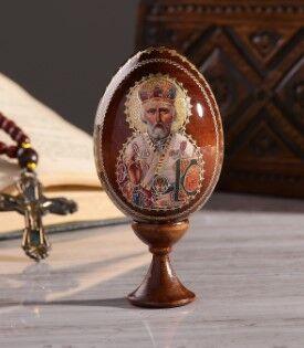 """Сувенир Яйцо на подставке икона """"Николай Чудотворец"""""""