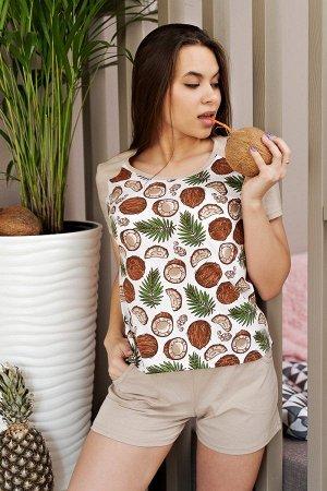 Пижама с шортами ПЖ 025 (Кокос)