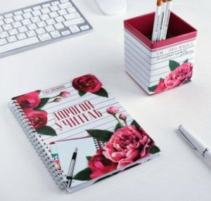 """Подарочный набор """"Дорогому учителю"""": ежедневник и органайзер для ручек"""