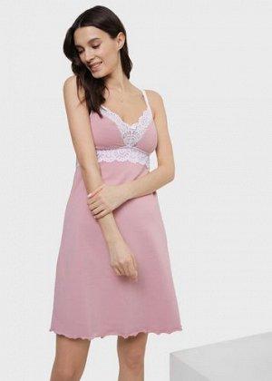 """Ночная сорочка с кружевом для беременных и кормления """"Дольче""""; пудра"""