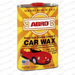 Полироль кузова ABRO Heavy Duty Silicone Cleaner & Car Wax, силиконовый, создаёт защитную плёнку и придаёт блеск, бутылка 473мл, арт. SW-300