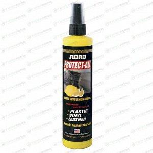 Полироль салона ABRO Protect-All, для пластика, винила, кожи и резины, с защитой от УФ-лучей и старения, с ароматом лимона, флакон-спрей 296мл, арт. PA-512