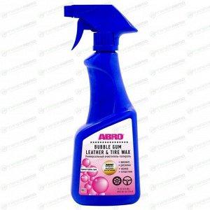 Полироль салона ABRO Bubble Gum Leather & Tire Wax, для кожи, пластика, винила и резины, с защитой от УФ-лучей, с ароматом «бубль гум», бутылка с триггером 473мл, арт. BLT-016-R