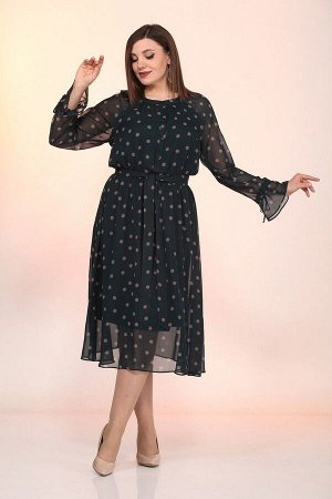 Платье Lady Style Classic 2204 изумруд+горох