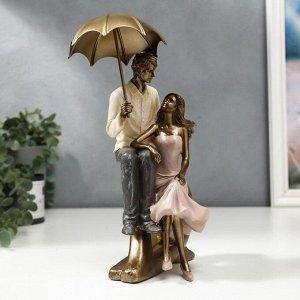 """Сувенир полистоун """"Пара на сердце под зонтом"""" 22,5х11х14,5 см"""