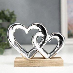 "Сувенир керамика, дерево ""Двойное сердце"" серебро 10,4х5х14,3 см"