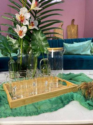 Набор: графин и стаканы 6 шт на подставке, термо стекло, бамбук