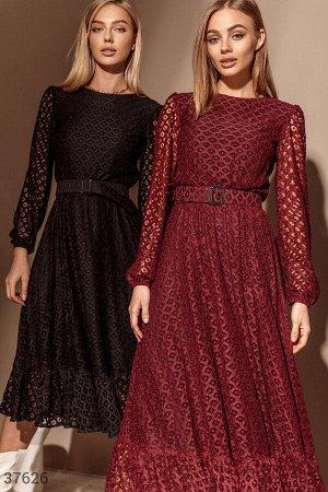 Кружевное платье-миди бордового оттенка